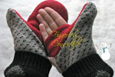 Black, Gray, Off-White, Red Diamond Pattern Convertible Fingerless Soft and Warm Felted Wool Mittens