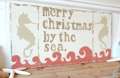 Beach Sign Merry Christmas By The Sea - Crab Red