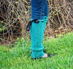 Leg warmers in Dark Aqua Cable knit Leg Warmers  by jewellerybijou, $45.00