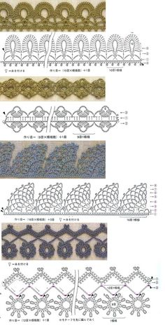 Puntillas de crochet. Siempre son útiles. / Crochet edgings! these are so pretty! crochet lace edgings, border crochet, crochet borders, crochet edgings, puntillas de crochet, puntillas crochet, crochet edge, crochet pattern, knitting lace stitch
