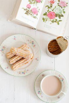 Churros con dulce de leche  - Euge de la Peña Blog postr con, dulce de leche, churro con, dulc de, tabl set, con dulc