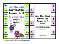 Subtraction Pick, Flip and Check cards by Games 4 Learning - The fun way to review subtraction facts! 10 Printable subtraction cards - children use a clothespin to mark their choices then flip to see if they are correct $