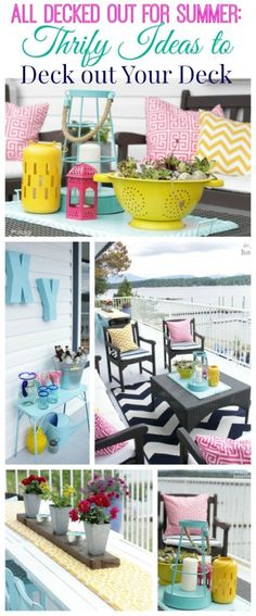 Thrifty Ideas to decorate your #deck, #porch or outdoor space without breaking the bank at The Happy Housie