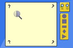 Move the magnifying glass around to discover the hidden shape. Can pupils work out which shape is hidden, by looking at only a tiny section of it at a time? 'What does this corner tell you?', 'Which shape could it definitely NOT be?' A great opportunity to discuss shape properties.