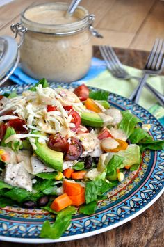 {Salad Of The Week} Southwest Chicken Salad with (healthy) Chipotle Ranch Dressing