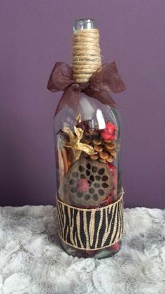 Wine Bottle w/ cinnamon potpourri !!! #wine #bottle #DIY #crafts