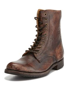 Rand+Stonewash+Lace-Up+Boot,+Cognac++by+Frye+at+Neiman+Marcus.