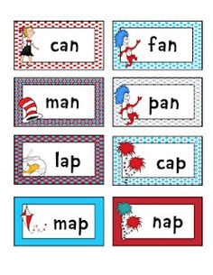 Rhyming cards (Cat in the Hat)
