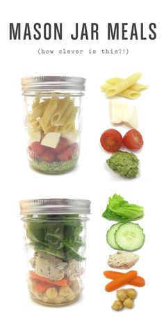 Clever - prepare weeks meals and put in mason jars - go into the fridge and pick a jar! Would be great for a picnic.
