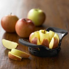 This might be one of my most favorite kitchen/snack tool ever. I cannot eat apples whole, so it's great for that purpose. Also, when I make apple pies, it cuts so much time off of my prep. Highly recommend it from Williams Sonoma!