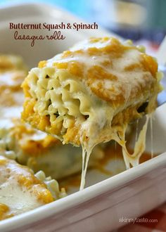 Butternut Squash and Spinach Lasagna Rolls – stuffed with spinach and cheese, then topped with a creamy butternut parmesan sauce and baked in the oven with even more cheese – trust me, you want these in your life! #meatlessmondays #Fall #vegetarian #cleaneating