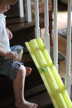 Make homemade bouncy balls and race down track made of pool noodle cut in half! pool noodles, balls, bounci ball, homemad marbl, ball ramp, race track, marbl bounci, pools, kid craft