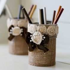 Easy to Make Shabby Chic Pencil Holder.  Made from a soup can.