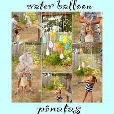 Water balloon pinatas...super fun for a summer birthday party...let dad supervise and have a camera ready.  ha.