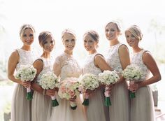 lace top bridesmaids' dresses, photo by Jason + Anna Photography http://ruffledblog.com/monochrome-phoenix-wedding #bridesmaids #dresses #bridesmaidsdresses