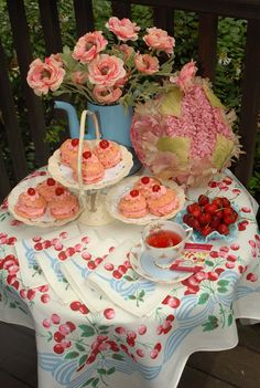 Pink Piccadilly Pastries: Cheery Cherry Tea Party with my recipe for Cherry Scones.
