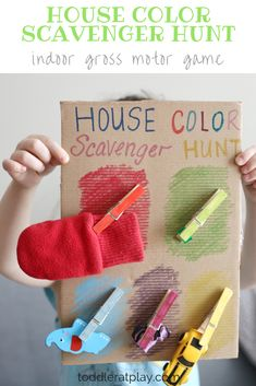 Great indoor gross motor game for preschoolers and young children. Kids will love looking around the house for fun treasures! Great for cognitive skills and fine motor! #scavengerhunt #grossmotor #kidsactivity