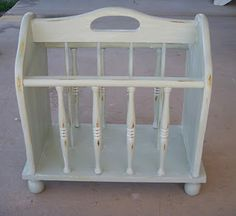 Vintage Shabby Chic Solid Wood Magazine Rack