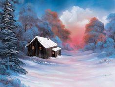 Winter Glow Tutorial winter glow, bobs, bob ross, michelle phan, art, cabins, ross paint, blog, oil paint