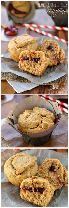 These amazingly moist Peanut Butter and Jelly Muffins make for a delicious and satisfying breakfast on-the-go or a great after-school snack! | MomOnTimeout.com | #recipe #breakfast #snack #peanutbutter