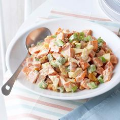 Feel free to make this Sweet Potato Salad ahead of time! It stays nice in the fridge for a whole day: http://www.bhg.com/christmas/recipes/holiday-side-dishes/?socsrc=bhgpin121013sweetpotatosalad&page=24