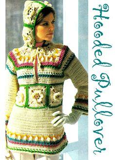 Vintage 70s Crochet HOODIE Hooded Pullover by KinsieWoolShop, $3.20 crochet bonanza, hoodi hood, 70s crochet, crochet hoodie, hood pullov, vintag 70s