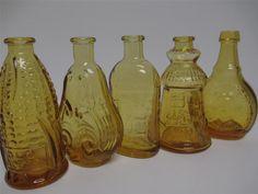 5 Wheaton Glass AMBER Vintage Miniature Bottles USA