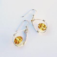 Sterling Teardrop Earrings with Deep Yellow Crystal by sparkflight, $32.00