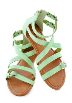 Seafoam the Sights Sandal - Green, Solid, Buckles, Urban, Summer, Flat, Beach/Resort, Casual, Pastel, Strappy mint green, summer sandals, color, flat, seafoam, sight sandal, fashion looks, shoe, retro vintage