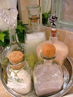 Turn empty liquor bottles with good stoppers into beauty containers for DIY bubble bath, bath salts etc.