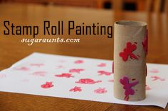 Stamp painting with recycled paper rolls. By Sugar Aunts