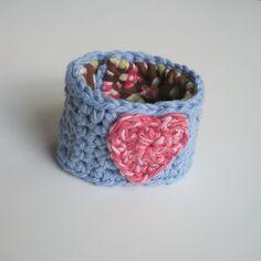 Cotton Crochet Cuff Bracelet in Cornflower Blue with by luvbuzz,