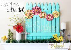 mantels, picket fences, spring mantel, idea, craft, easter, chalkboard, mantl, backdrop