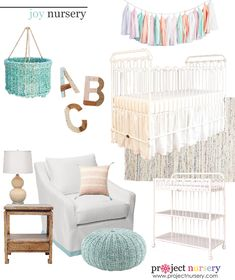 """Joy"" Nursery Design Board - inspired by @Suzan Hamilton Decor's ""Joy"" crib and changing table. #designboard #nursery #nurserydecor"