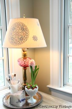 DIY Gilded Reverse Stencil Lampshade.  Customize a Lampshade.