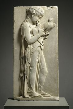ancientpeoples:  Marble grave stele of a little girl  Classical Greek (450-440 BC)