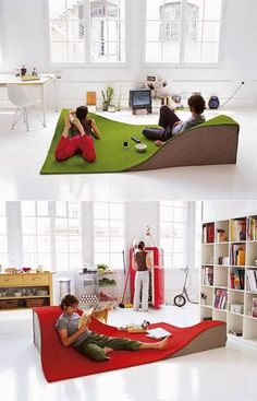 """The Flying Carpet is the only carpet/floor pillow that gives you the magic sensation of lying down between Teletubbie-like hills. Flying Carpet redefines the concepts of """"carpet"""" and """"furniture"""": It defines a new topography and functions at ground level. For the home or for a public space, the Flying Carpet is made of 100% wool with wedges made of 100% wool felt with a foam interior."""