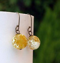 Yellow agate gemstone earrings..