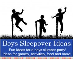 Boys Sleepover Ideas - Fun ideas for slumber party games, activities, food, invitations and more! Worth pinning if just for the very last tip!