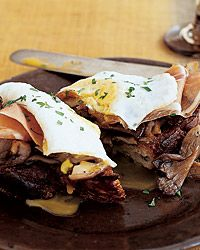 Wild Mushroom Toasts with Ham and Fried Eggs Recipe on Food & Wine