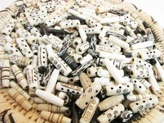 Carved Bone Tube  Beads Ivory and Brown by TravelingGypsies, $6.50