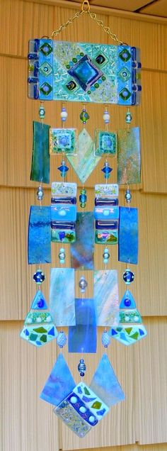 Kirks Glass Art Fused Stained Glass Wind Chime windchimes - The Blues. $159.00, via Etsy.