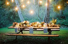 outdoor picnic magic: gorgeous picnic table beneath white lights