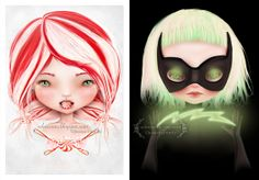 """""""Peppermint"""" & """"Pop"""" ACEO set by Jessica Grundy, each signed on the back. (Each card is 2.5X3.5)"""