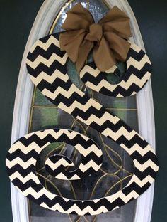 Curly Chevron Letter Monogram Door Hanger by EllieBelliesSigns, $35.00