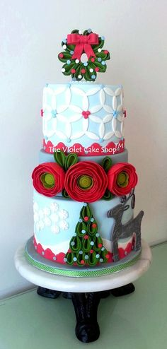 Christmas RANUNCULUS and SILVER REINDEER Cake - by thevioletcakeshop @ CakesDecor.com - cake decorating website