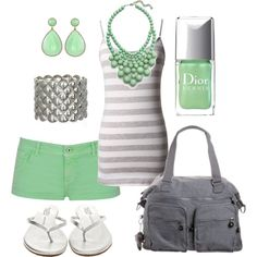seafoam, created by #htotheb on #polyvore. #fashion #style T KEES #Kipling