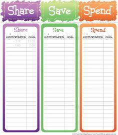 Share, Save, Spend allowance log for kids