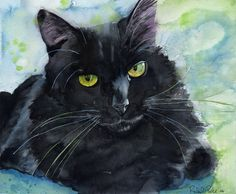 Black Cat Art Painting PRINT Watercolor Rachel Parker rachelsstudio Artist Artwork. $25.00, via Etsy.