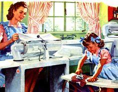 Vintage ad mum daughter sewing room fashion